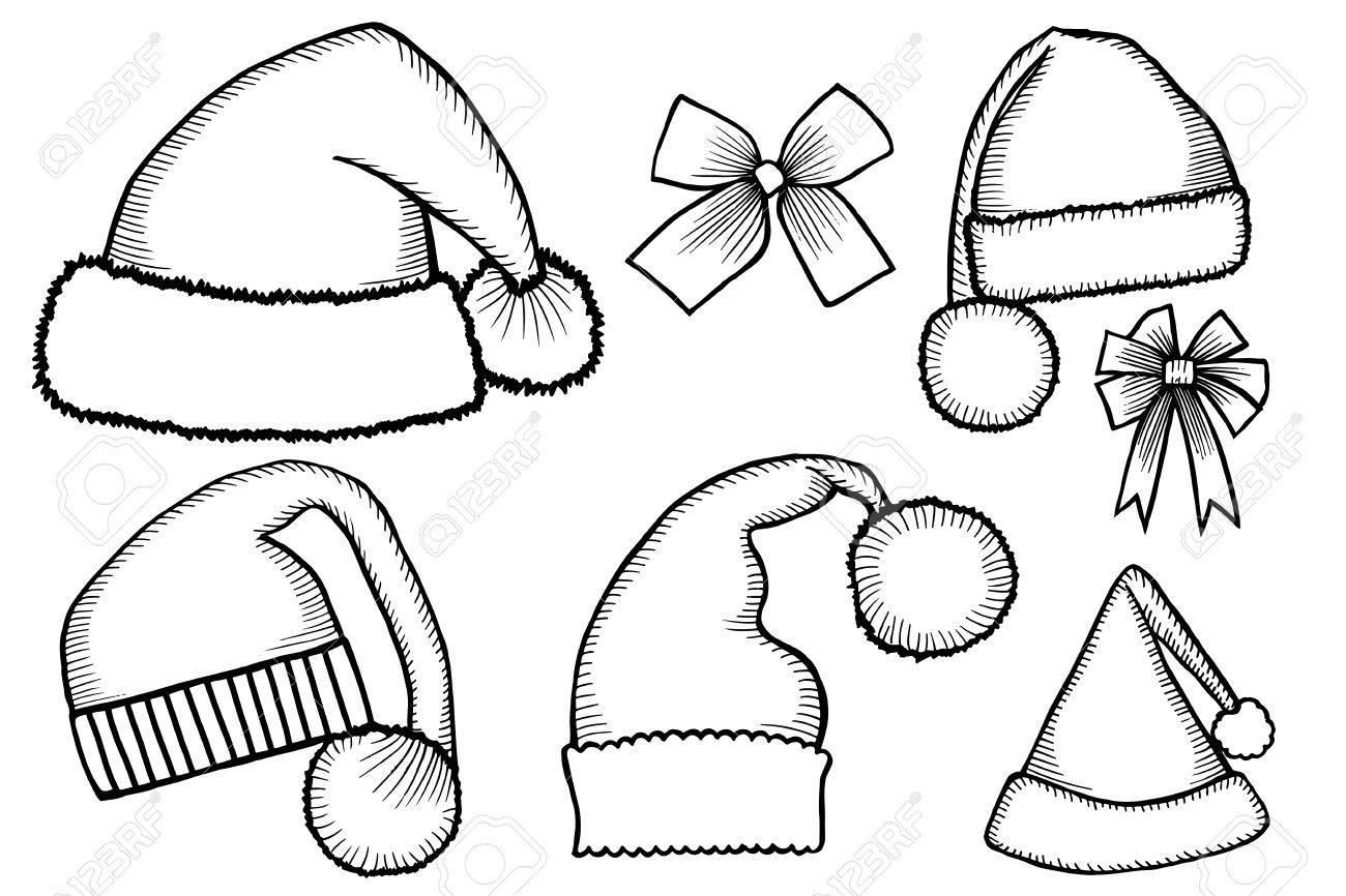 Hat Design Template Set Of Monochrome Doodle Hats Boots Socks Santa Claus