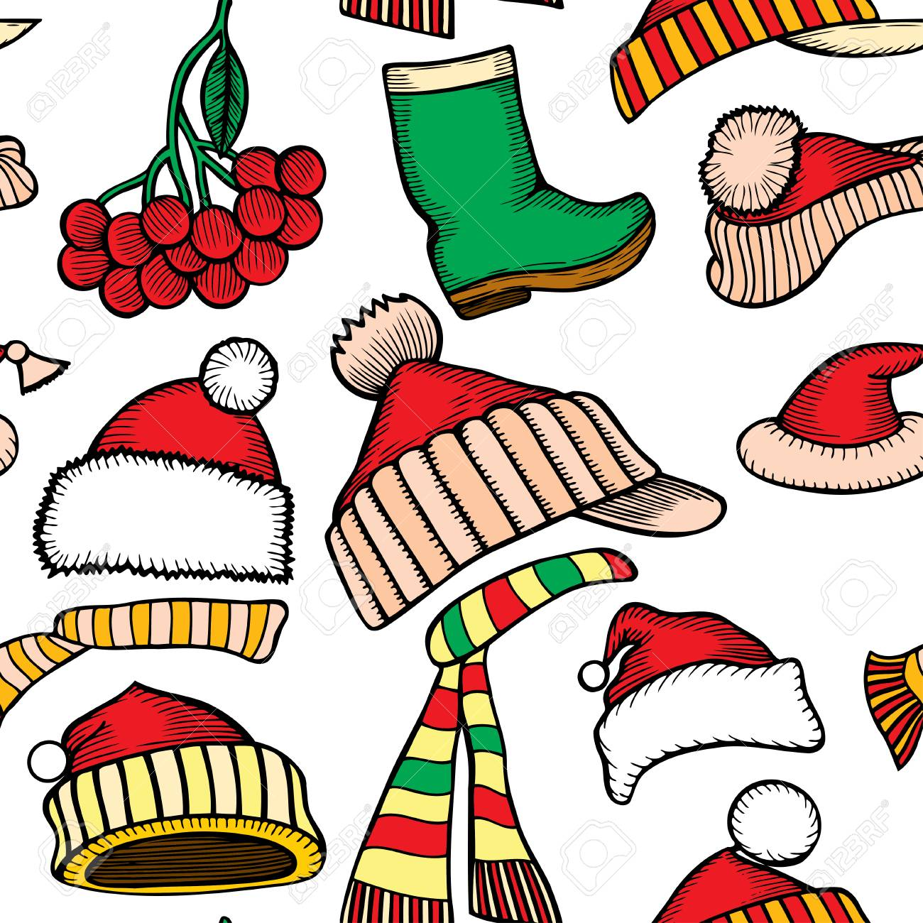 Christmas seamless vector pattern  Holiday icons, patches, stickers