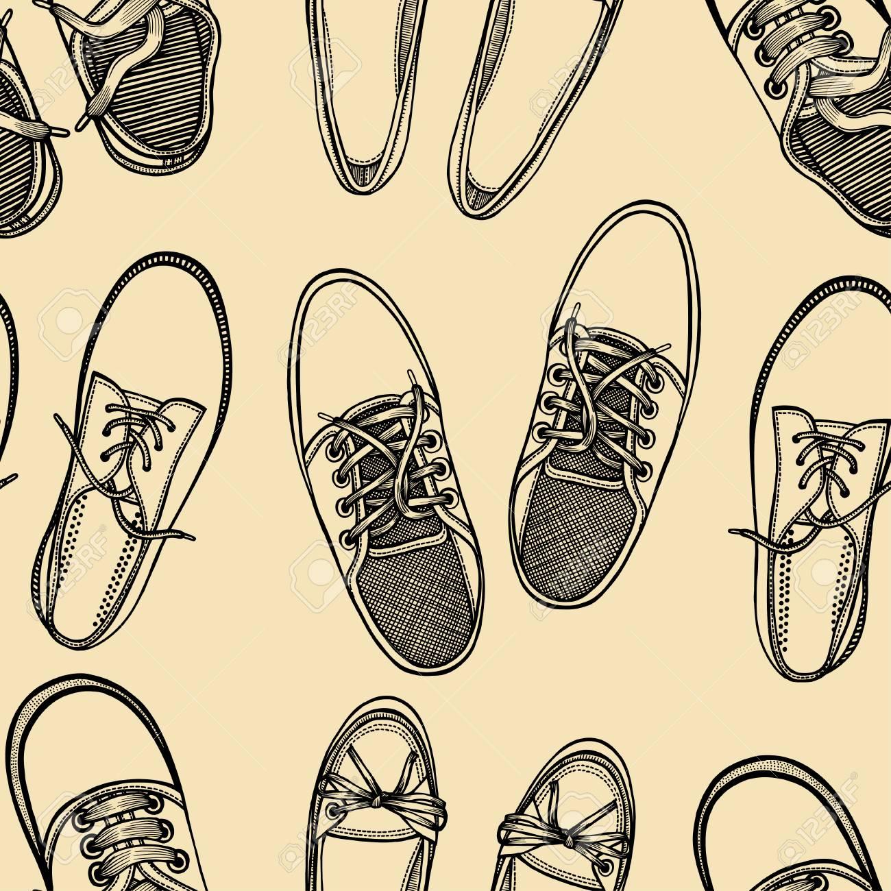 Dibujado A Mano Patrón Transparente Boceto De Zapatos - Zapatillas ...