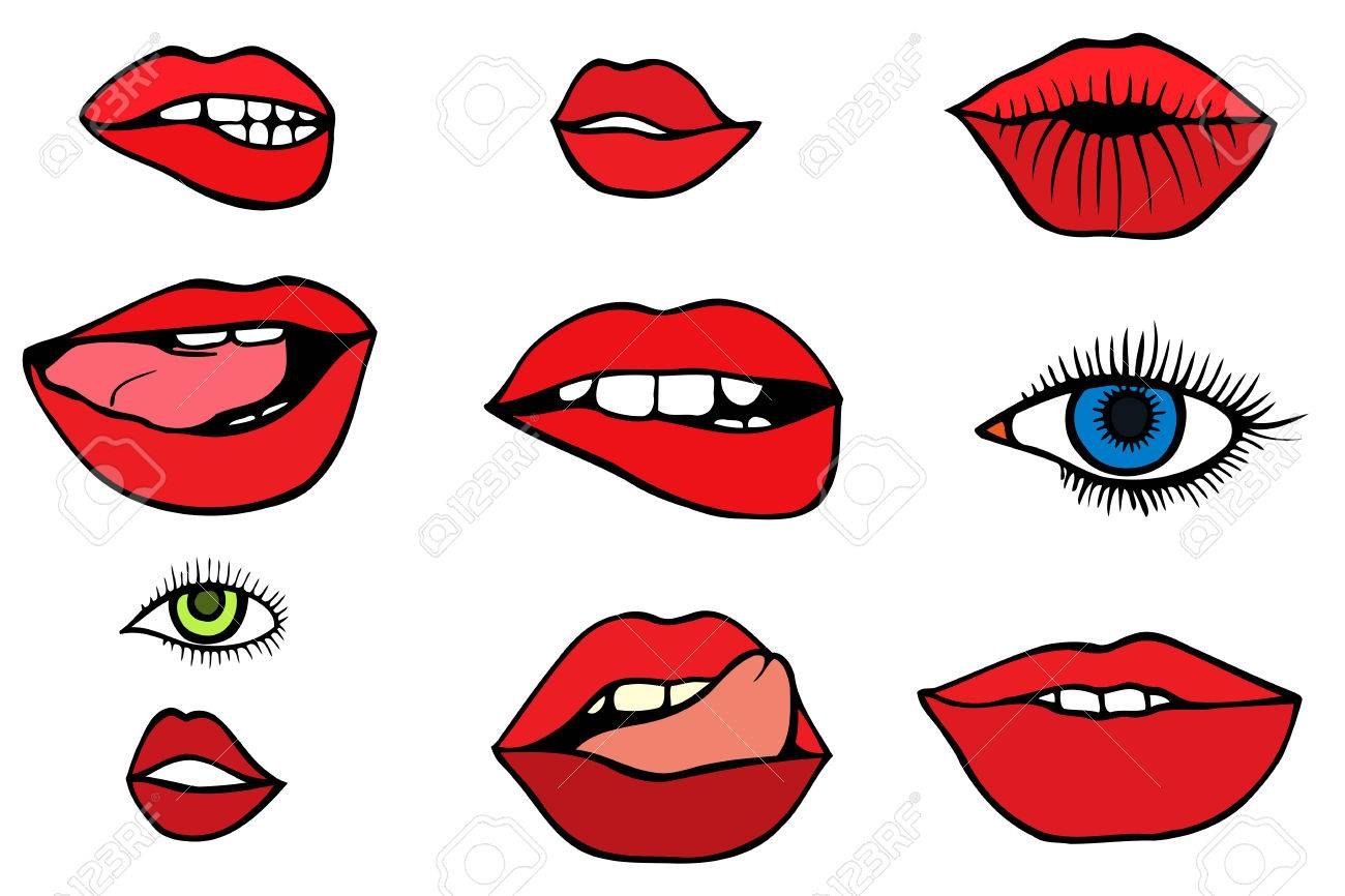 fashion patch set with lips and eyes set of stickers and patches rh 123rf com Black and White with a Splash of Color Red Lips
