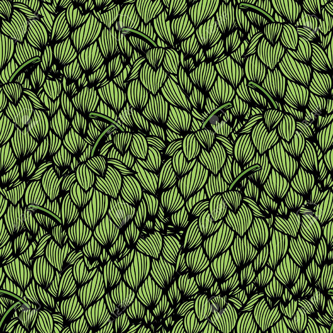 Seamless Pattern With Green Hops Vector Illustration Royalty Free