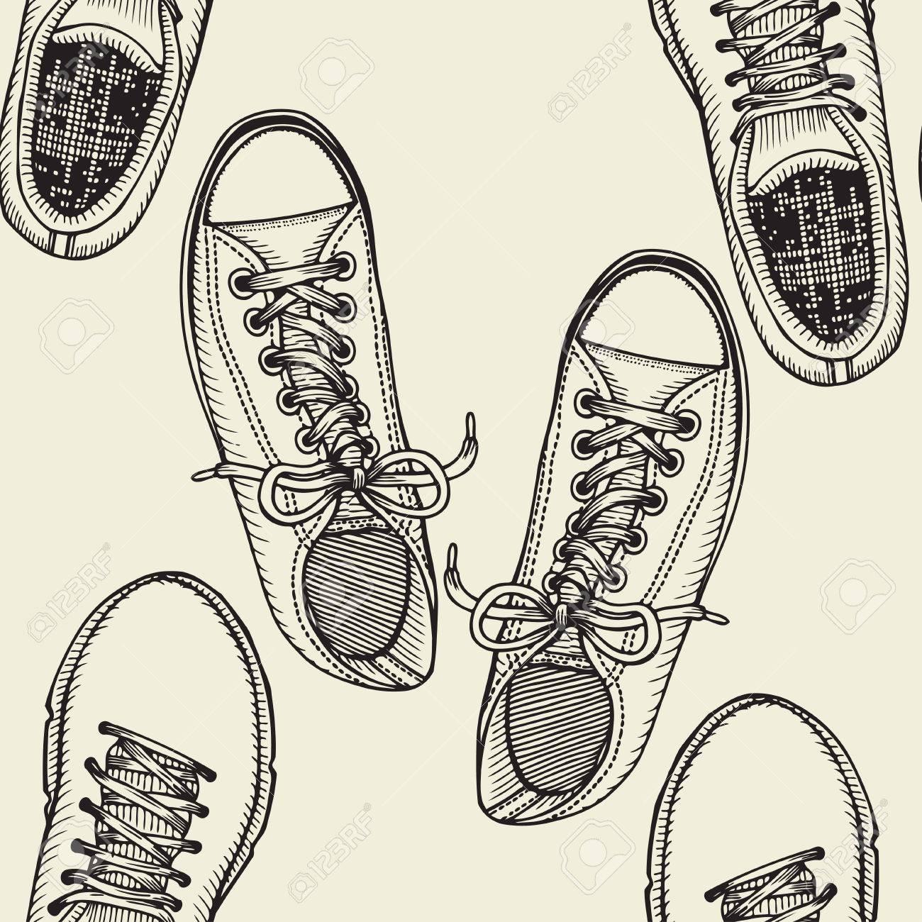 Para Vector De Sin DeporteElemento Diseño Libro A Zapatos Zapatillas Boceto ColorearFondo Dibujado Mano Patrón vOynm0wN8