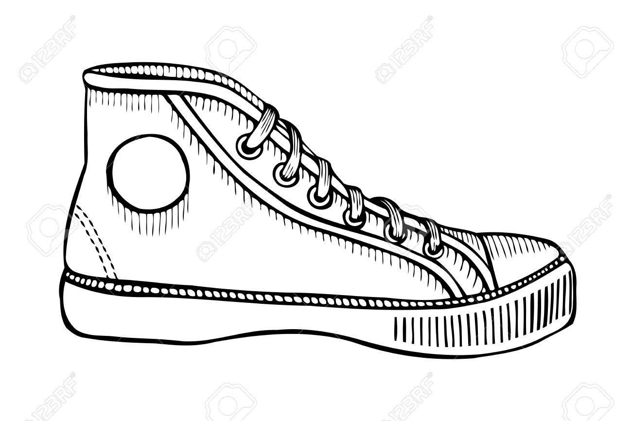 Boceto dibujado a mano de calzado deportivo, zapatillas de deporte para el verano. Ilustración vectorial Ropa deportiva para hombres y mujeres.