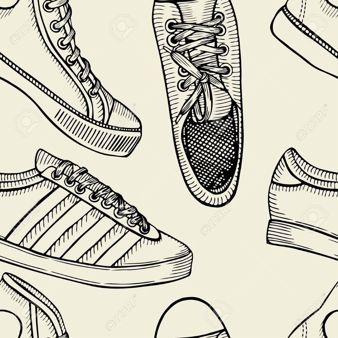 Boceto Dibujado A Mano Sin Patrón De Zapatos - Zapatillas De Deporte ...
