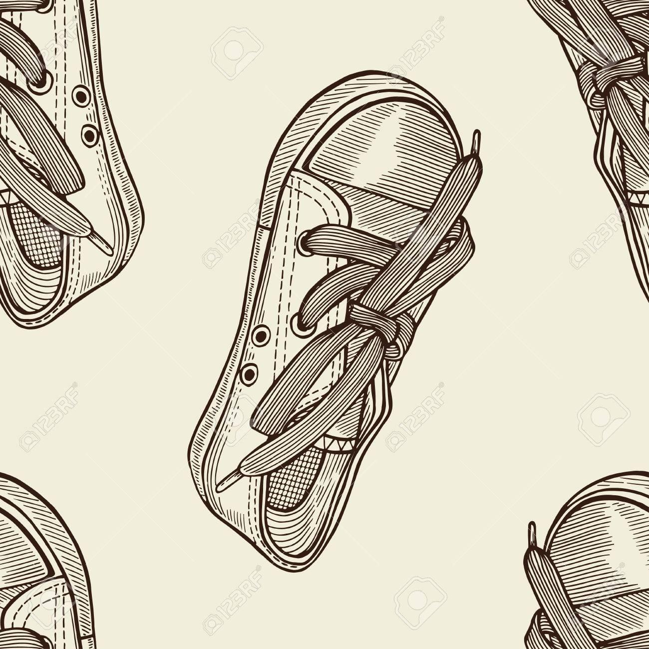 Zapatillas Sin A Nnw0vm8 Boceto Deporte Mano De Dibujado Patrón R54q3AjL