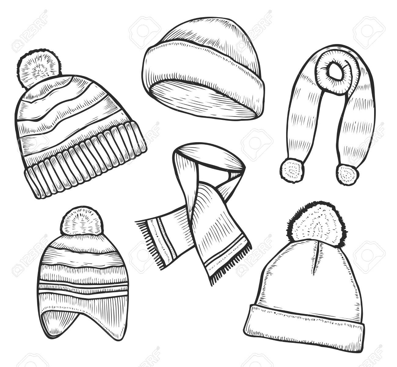 Set Of Hand Drawn Knitted Woolen Hat And Scarves In Black And Royalty Free Cliparts Vectors And Stock Illustration Image 90693682