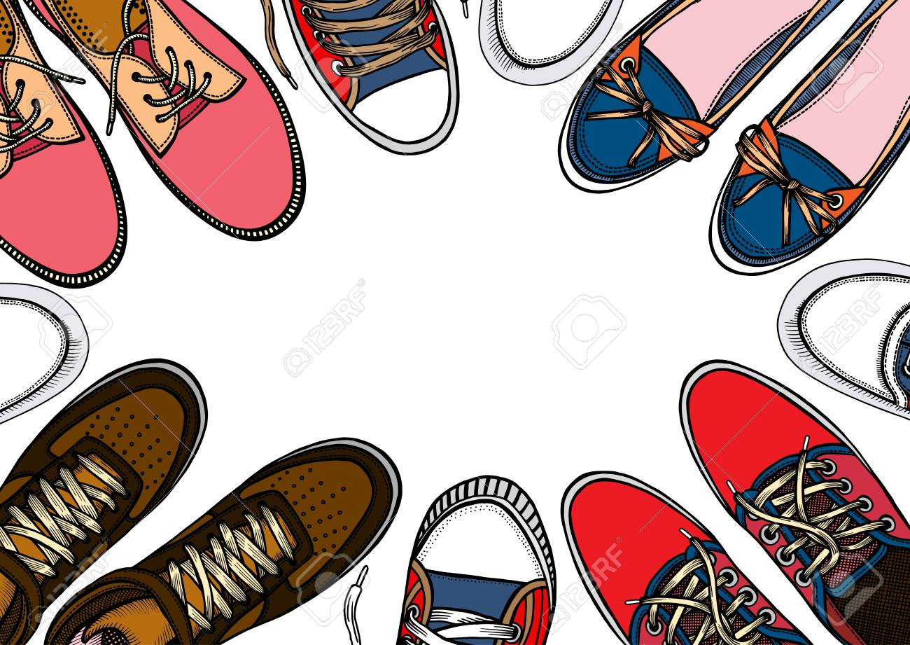 713f82b19858 Background of many sports shoes lined up in a circle with free space for  text