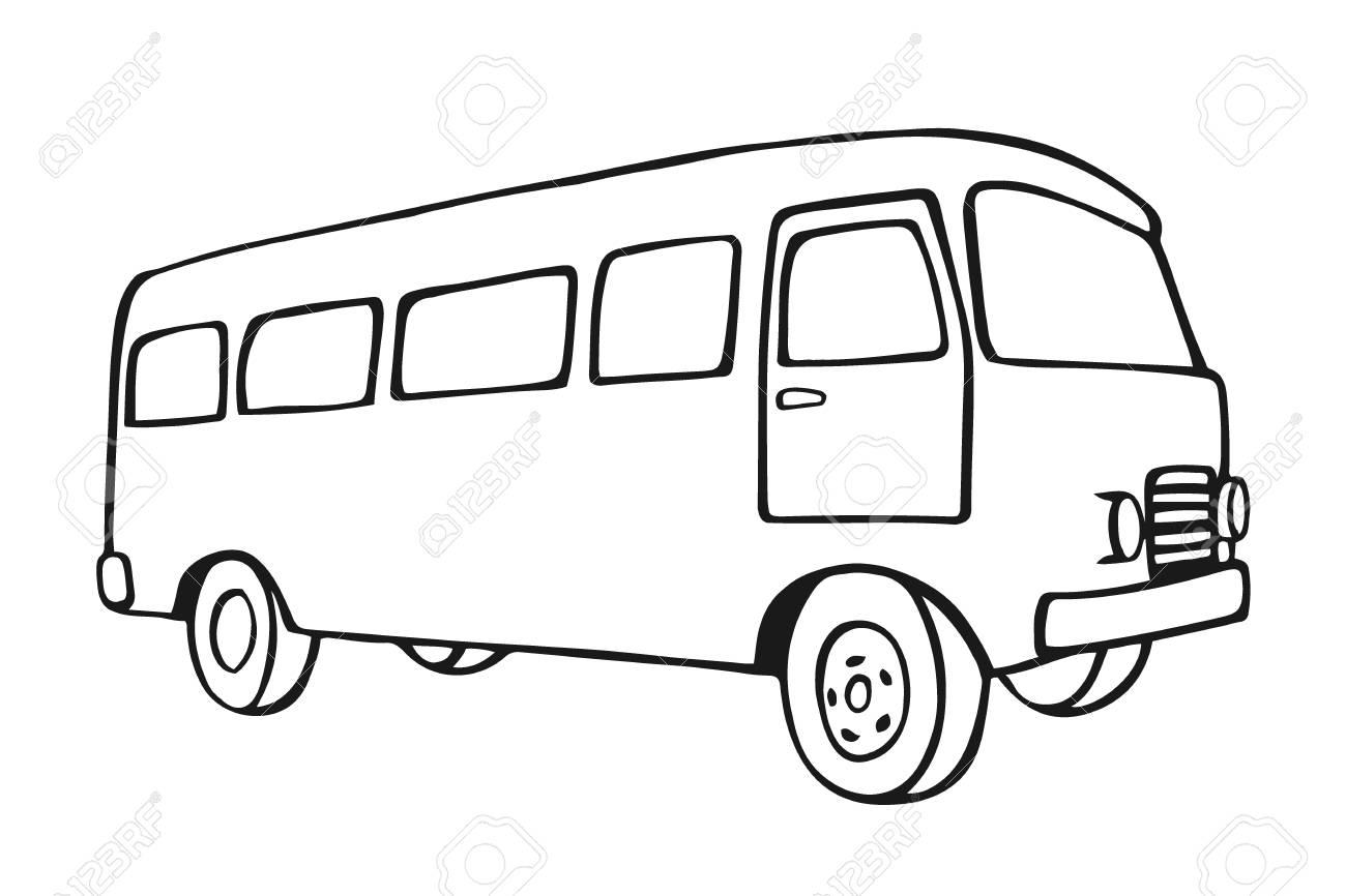 Sketch Retro Travel Van Icon Vintage Car Old Classic Camper Minivan