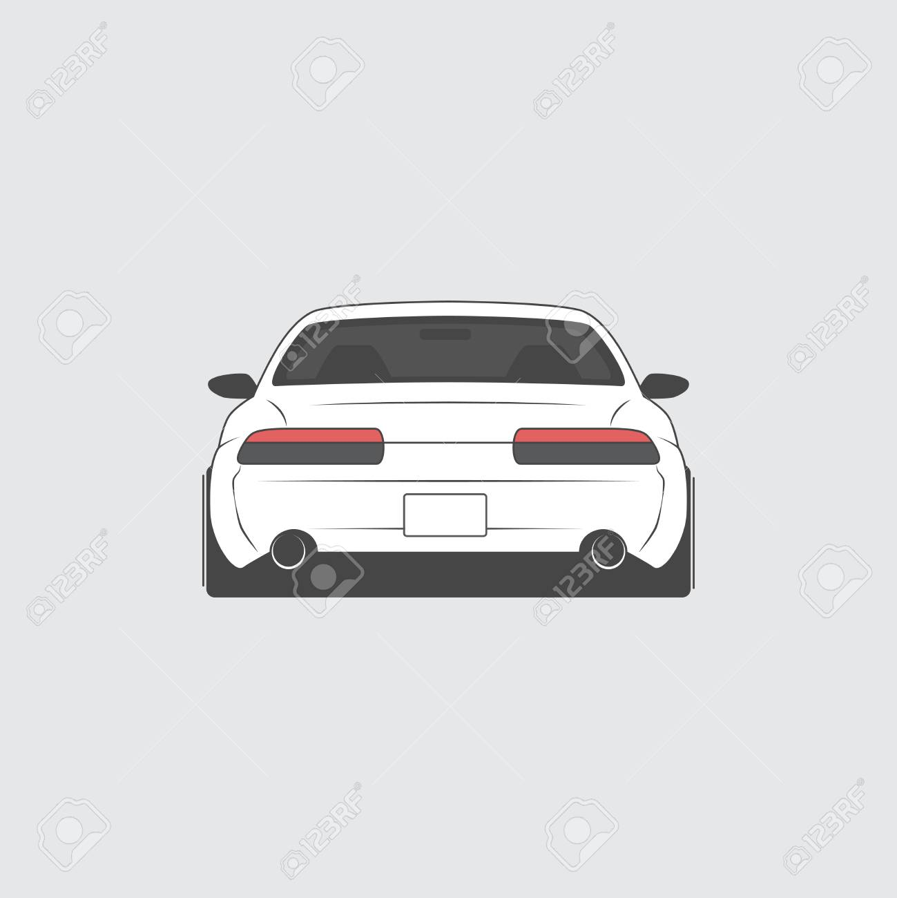 Vector Sport Car Car Sketch Back View Royalty Free Cliparts