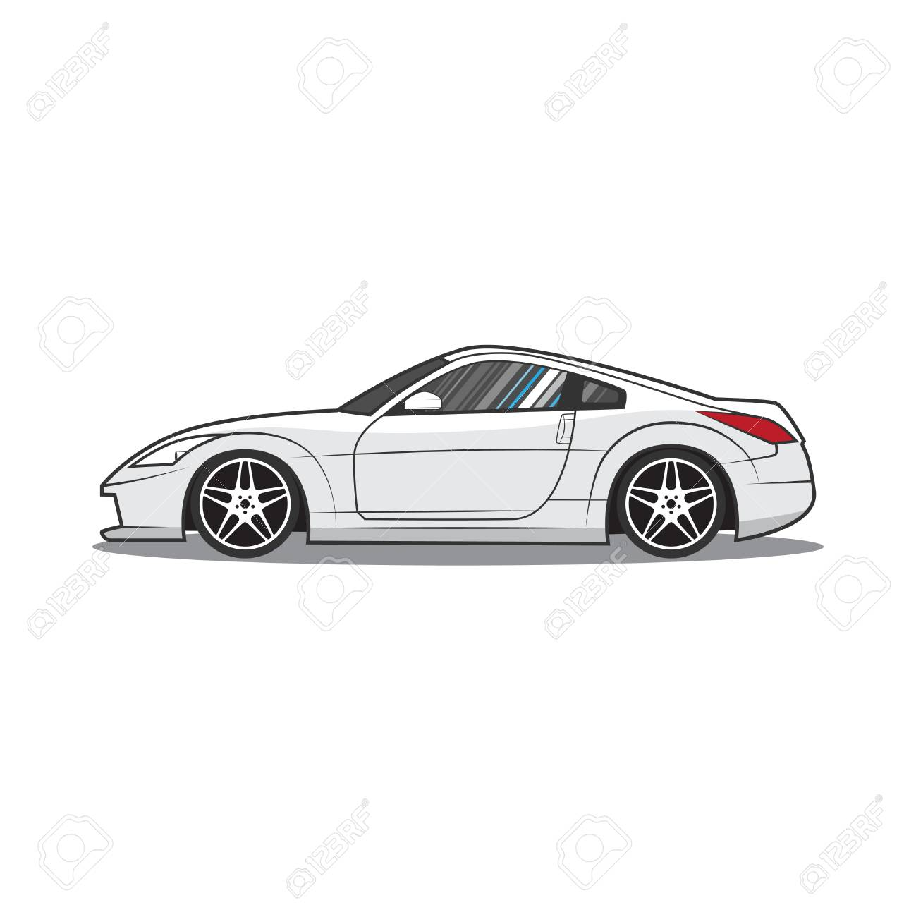 Japan Sport Car Car Sketch Side View Royalty Free Cliparts