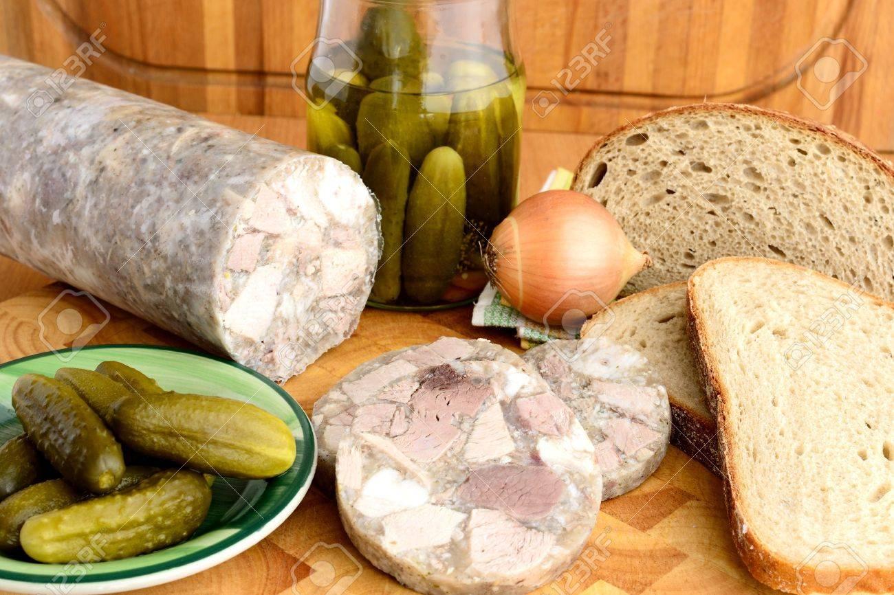 Traditionelle Tschechische Kuche Headcheese Lizenzfreie Fotos