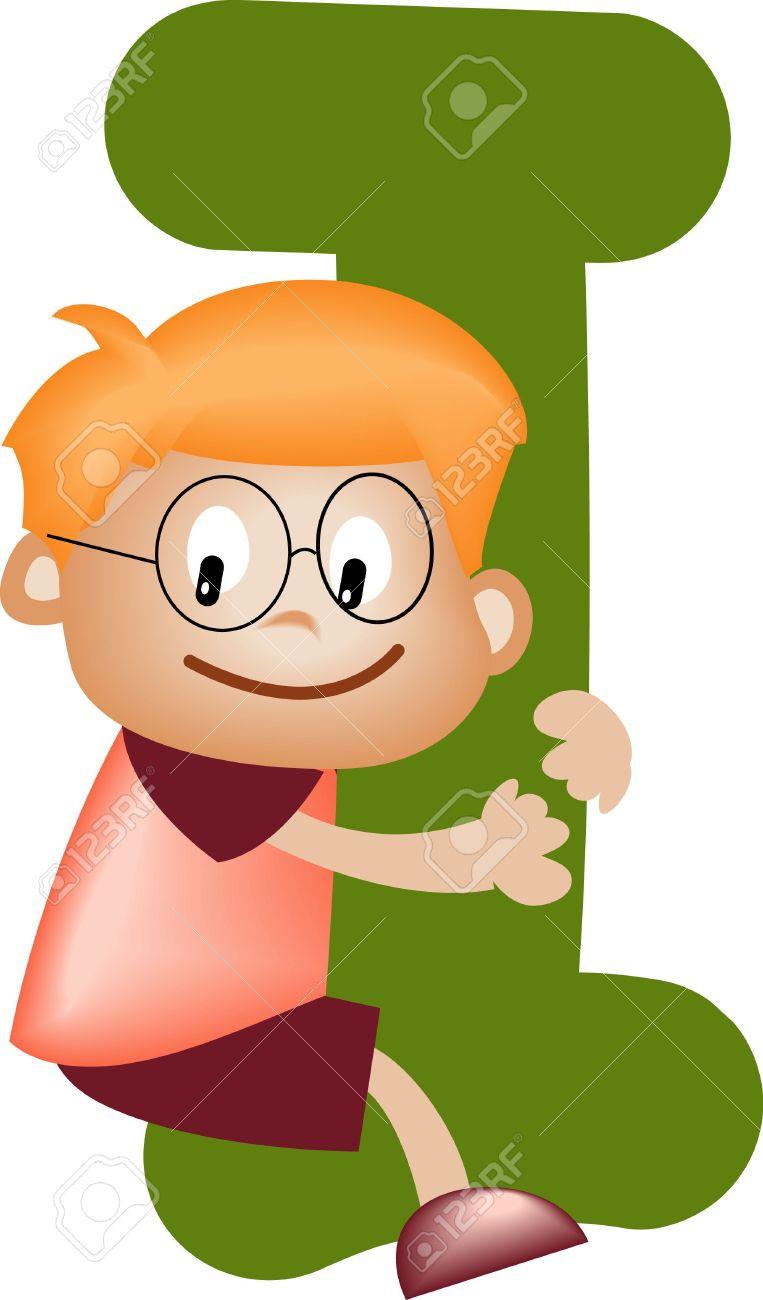 Boy With Alphabet Letter I Stock Photo