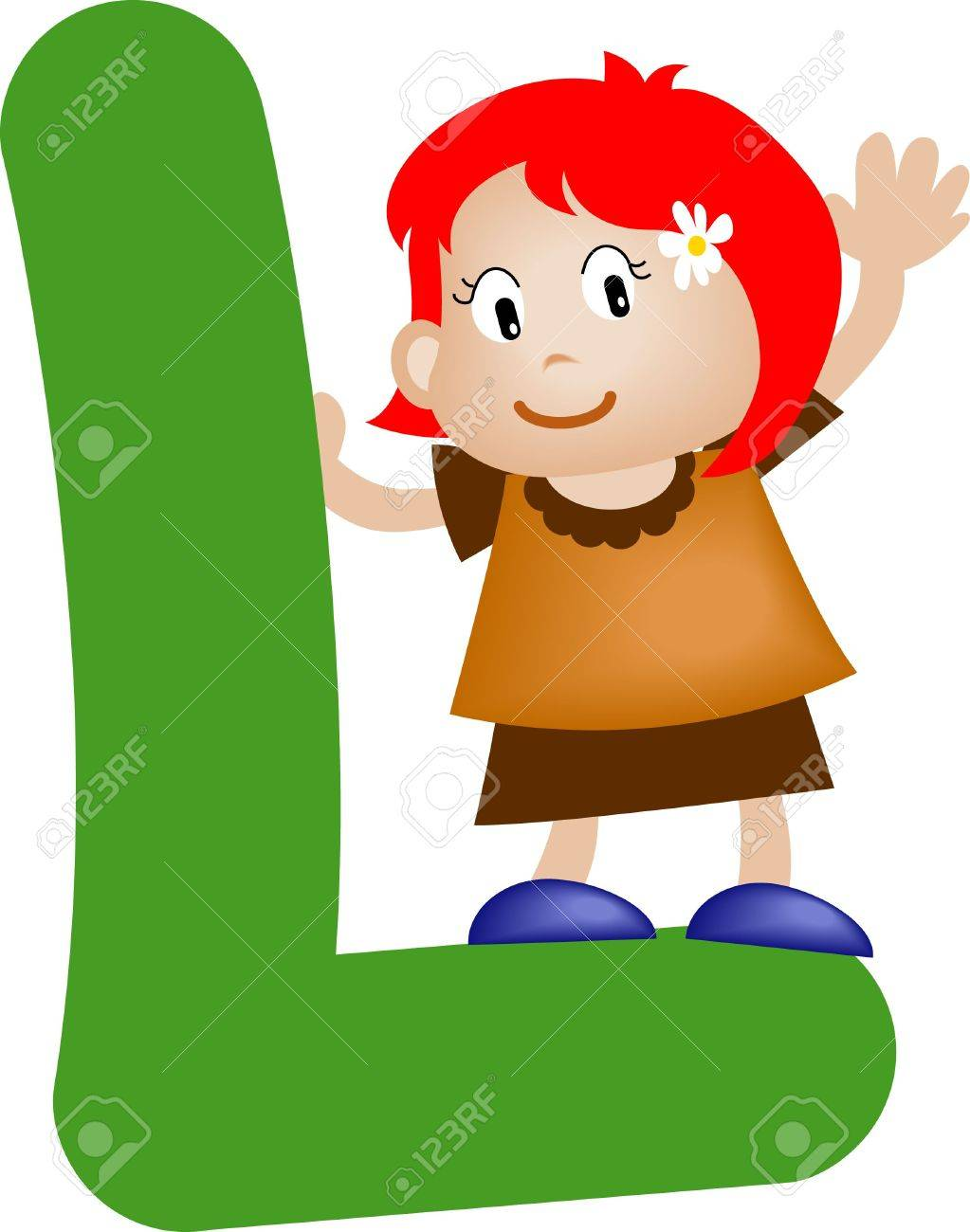 Girl with Alphabet letter l Stock Photo - 3207817