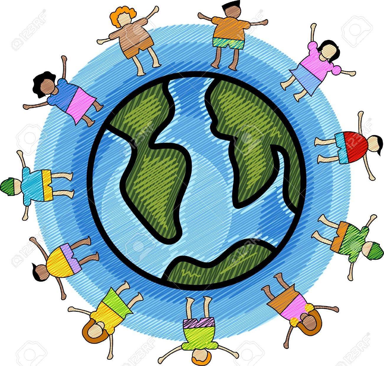 Kinderkreis clipart  Illustration Der Multikulturellen Kinder Kreis Mit Blauem ...