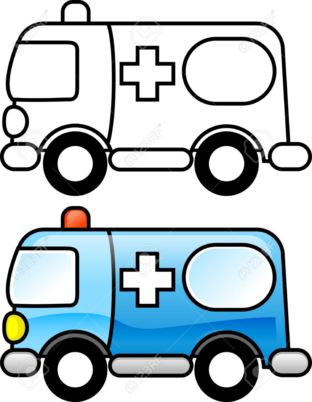 ambulance printable coloring page for children or you can use it as clip art - Ambulance Coloring Pages Print