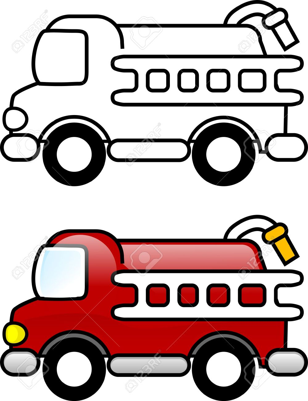 Fire Truck Printable Coloring Page For Children Or You Can Stock