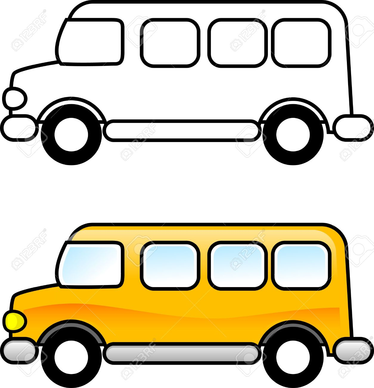 school bus printable coloring page for children or you can use it as a clip