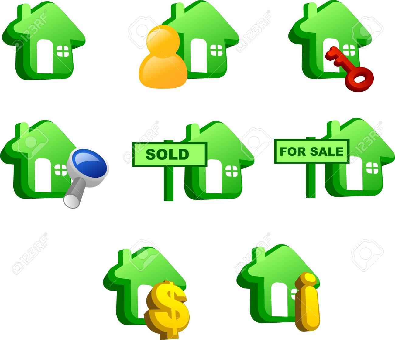Various icons of house (green version) Stock Photo - 3236615