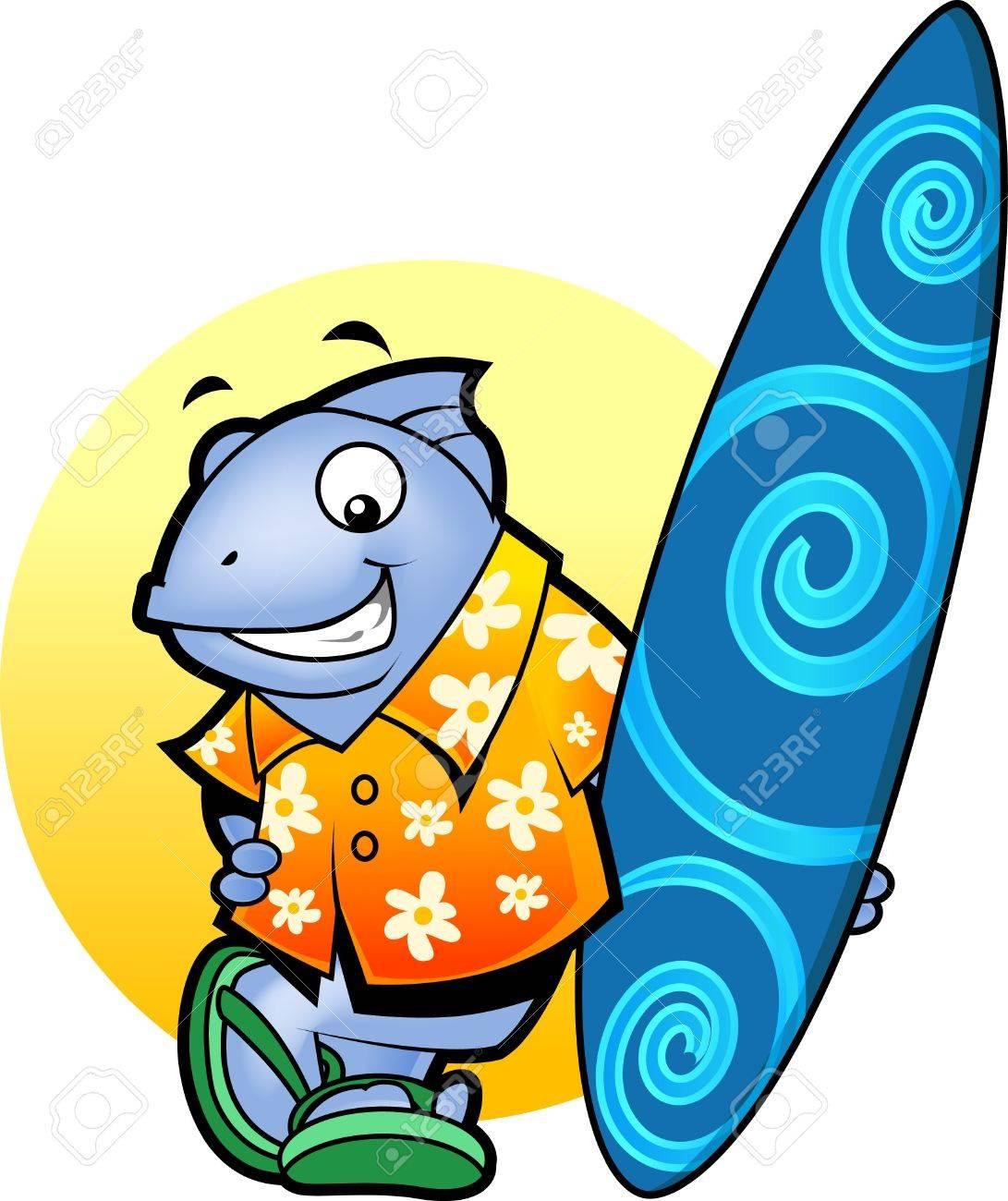 banque dimages un dessin dun poisson en chemise de surf et pantoufles en souriant comme elle dtient une planche de surf
