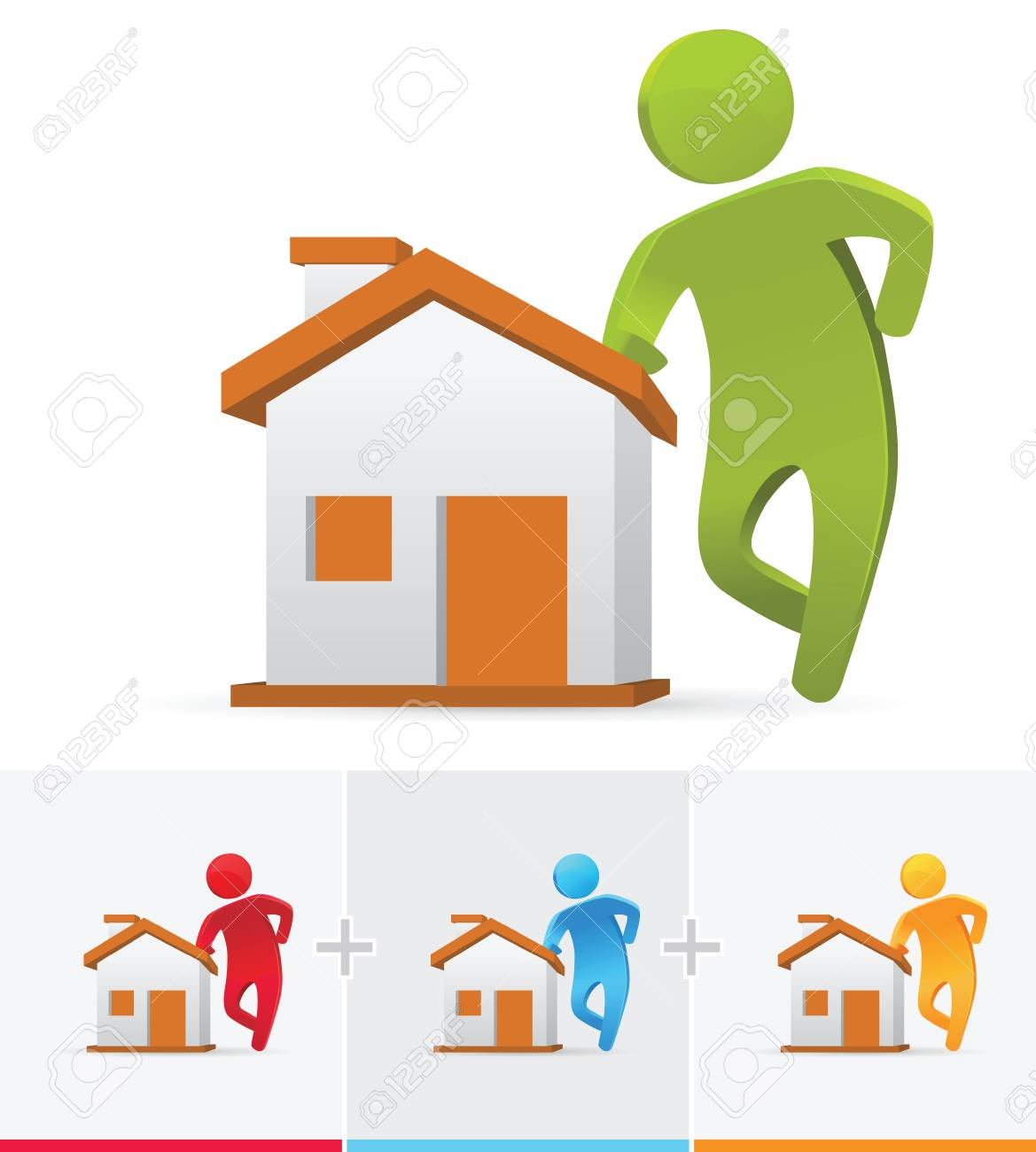 3d Stick Figure Standing And Leaning To His Brand New House Stock Vector    84742568