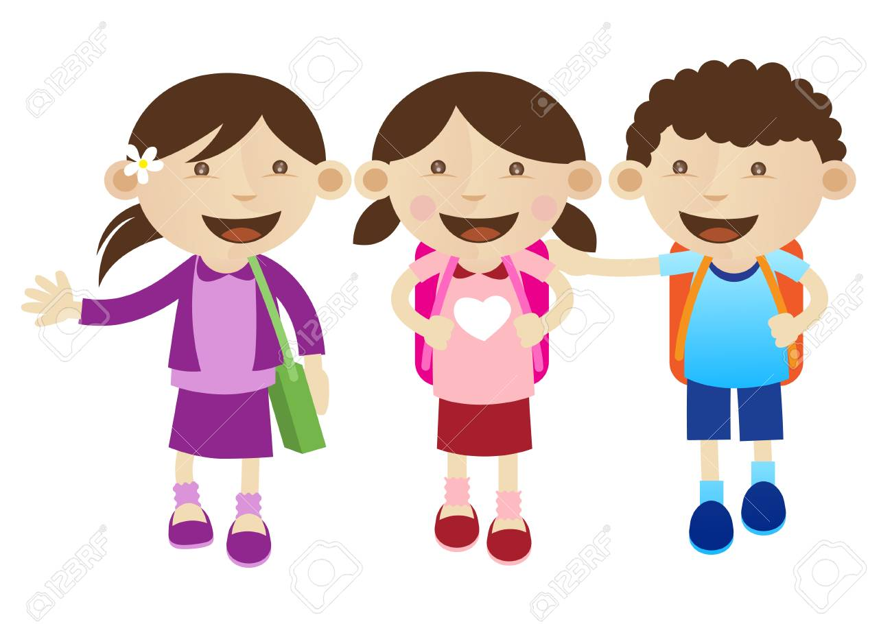 3 best friends going to school together royalty free cliparts