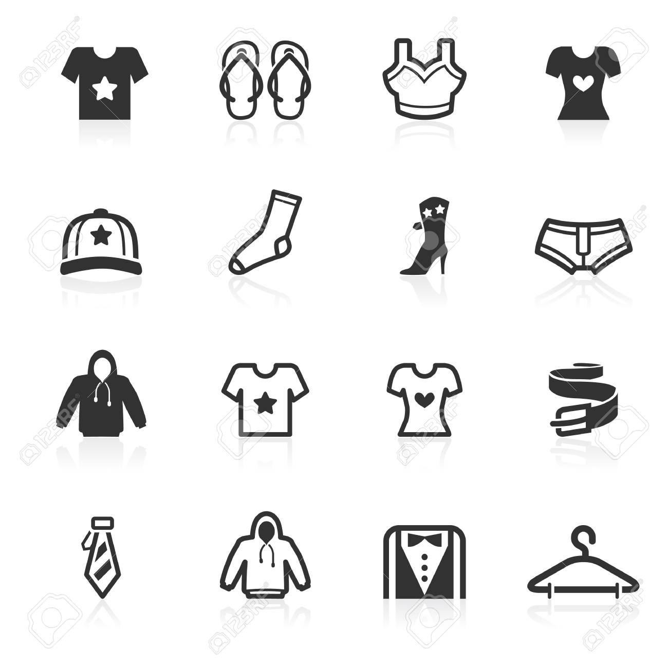 Fashion and apparel vector icons set isolated over white background