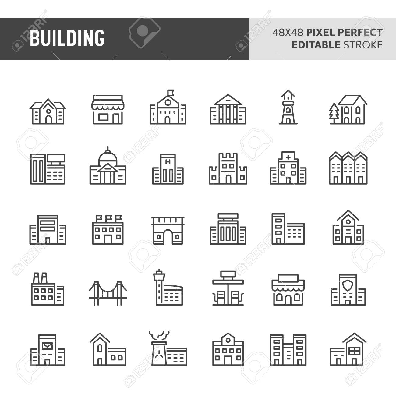 30 thin line icons associated with building (structure) and architectural