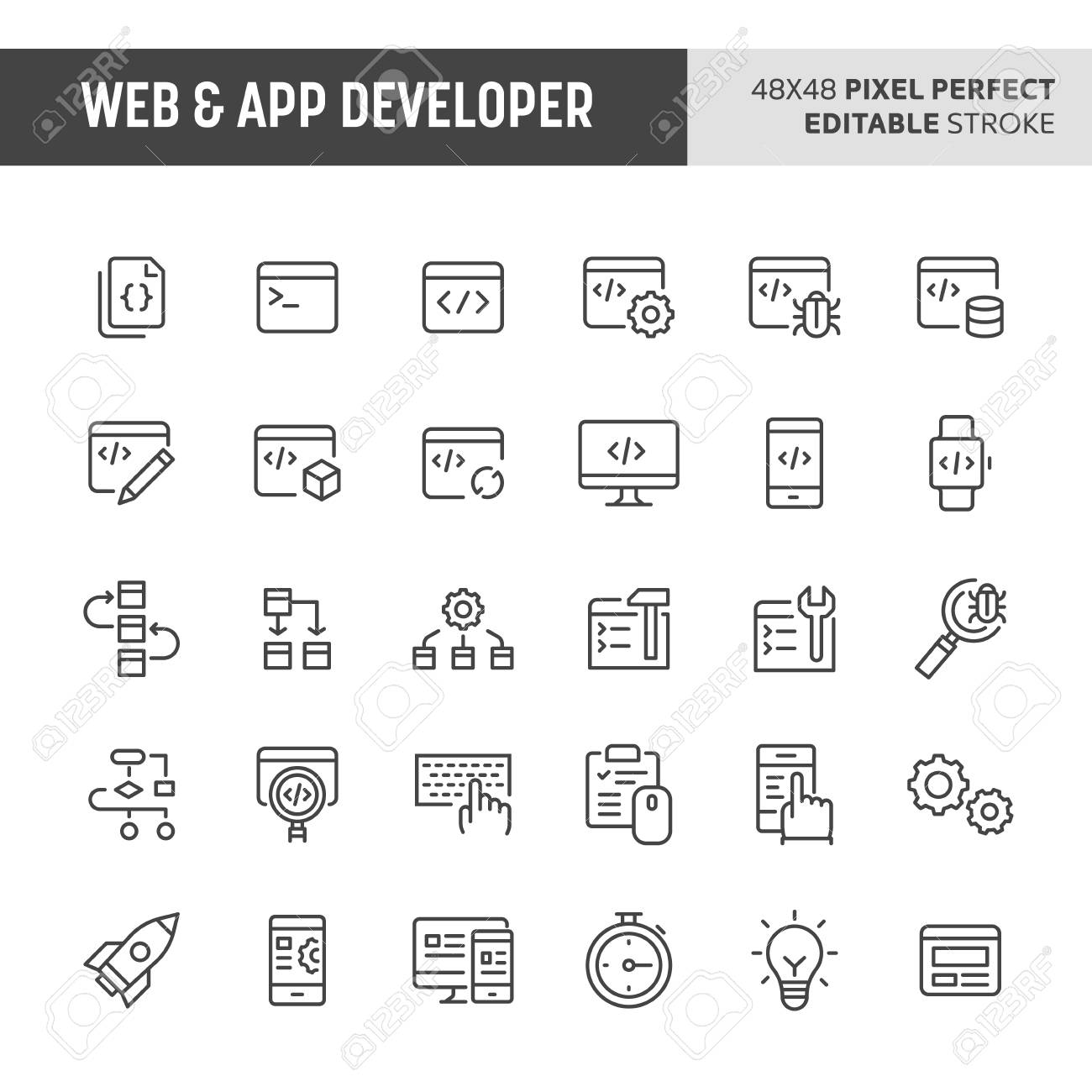 30 thin line icons associated with web & app developer  Symbols