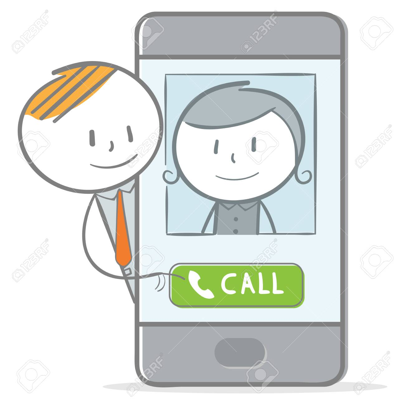 Doodle stick figure: Make a call with mobile phone - 134095182