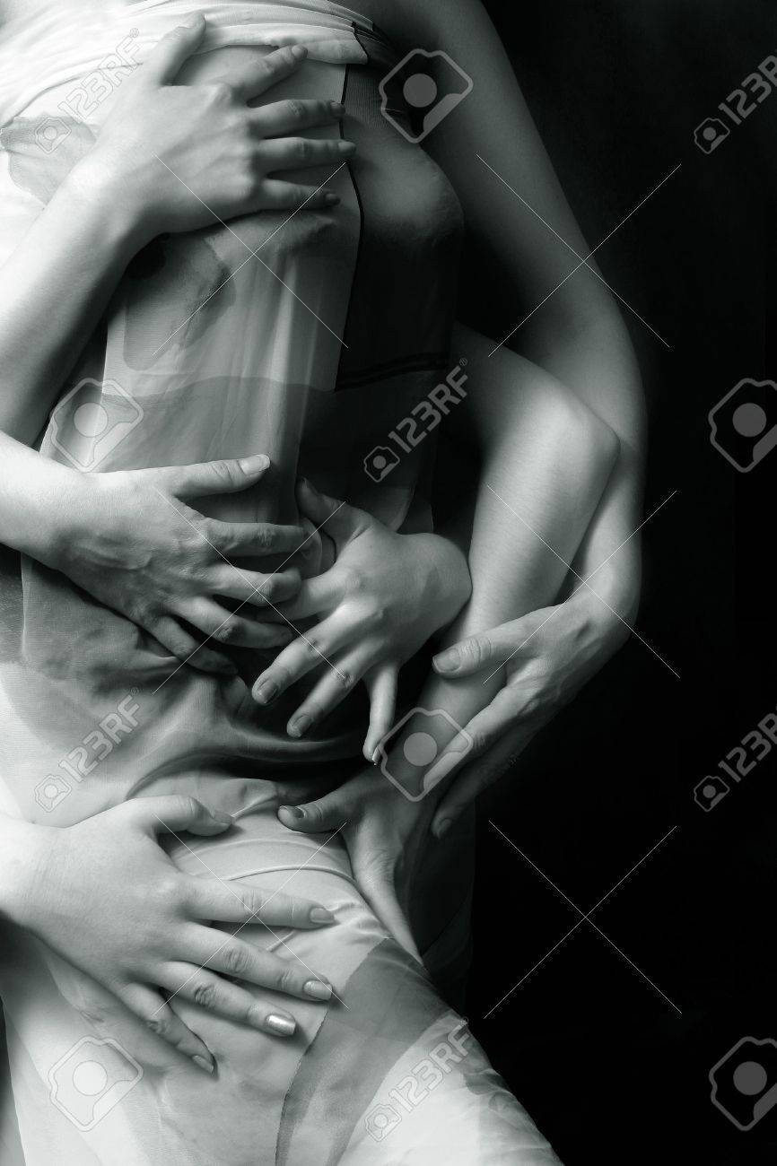 Three pairs female hands on a female body. b/w+blue tone Stock Photo - 712560