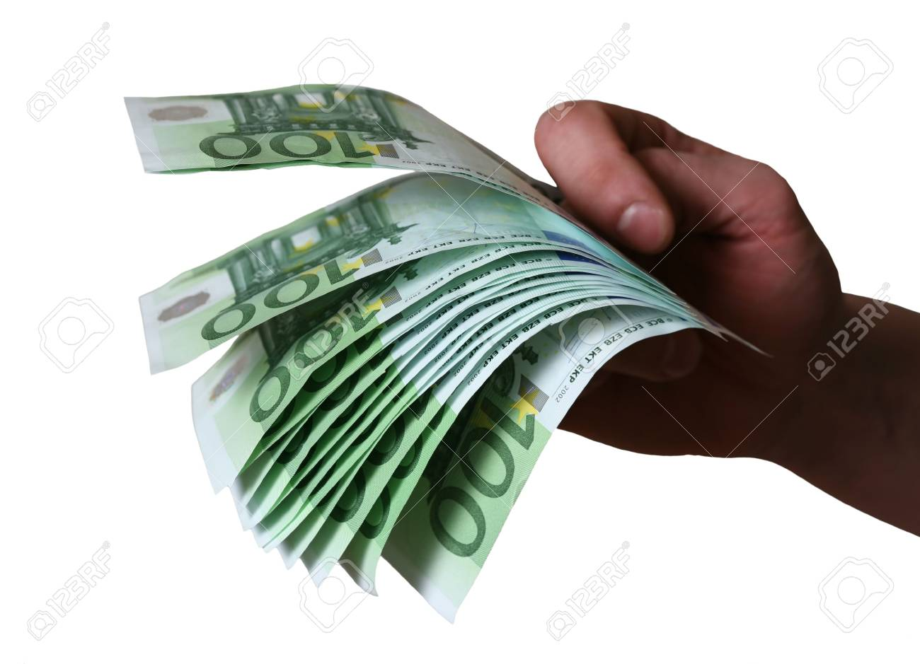 Man's hand with one thousand four hundred euro Stock Photo - 2834931