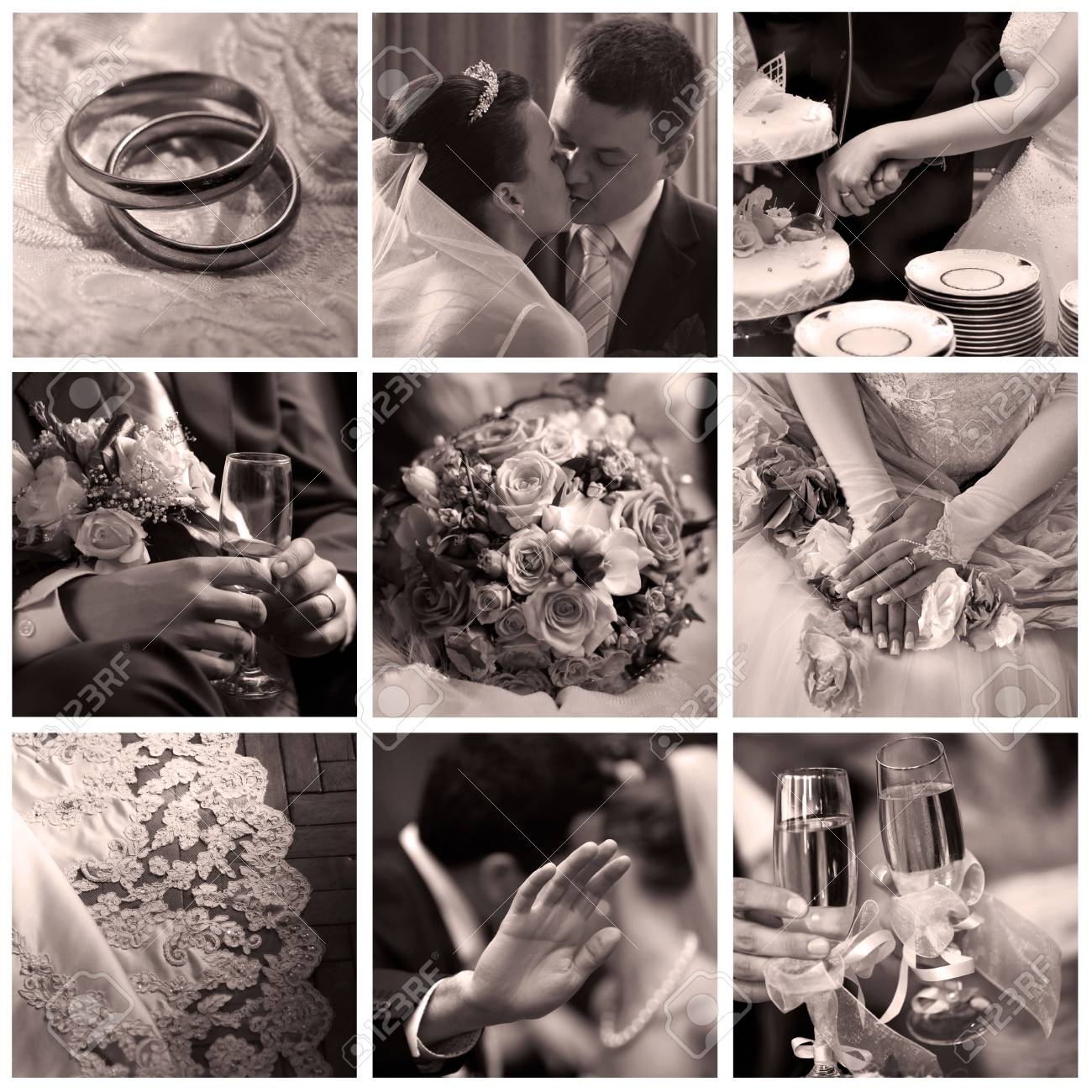 Collage of nine wedding photos in sepia Stock Photo - 3673167