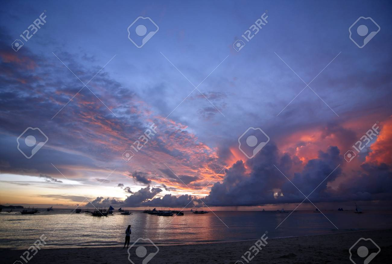 Drifting boat on a sunset on the tropical island. Philippines Stock Photo - 3952269
