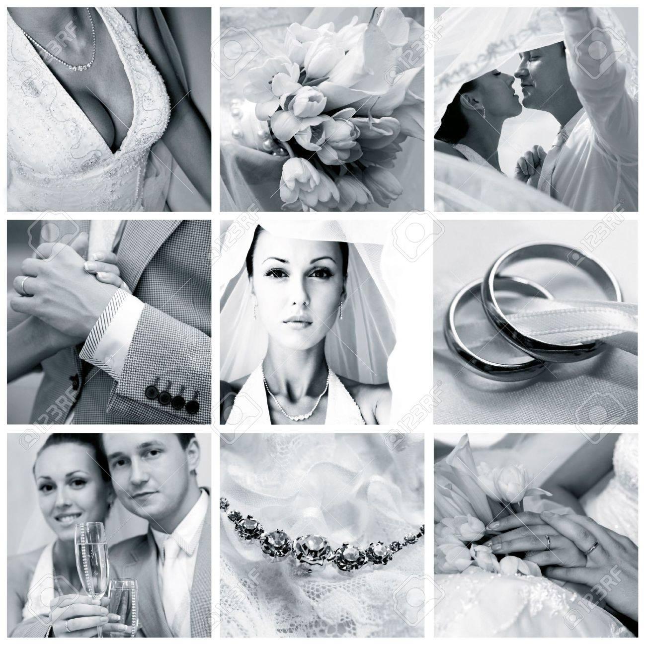 Collage of nine wedding photos in gentle - blue tone Stock Photo - 5331072