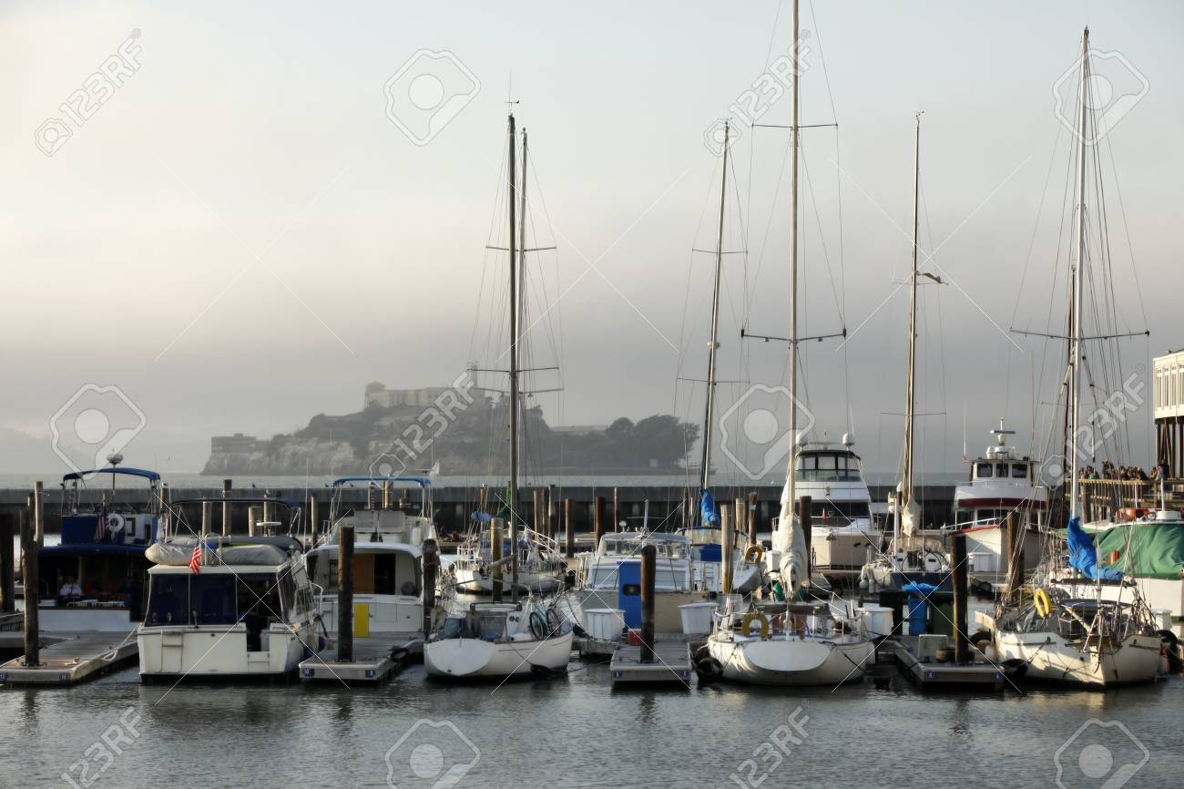 Alcatraz Federal Penitentiary on a background of yachts in the San Fransisco Bay, California Stock Photo - 11733778