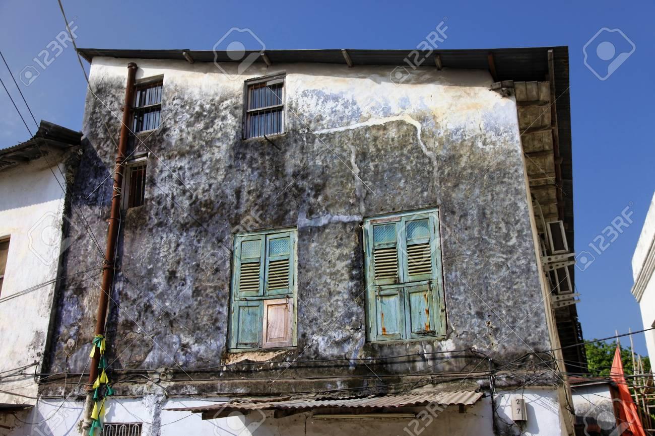old wooden windows at stone town the capital of zanzibar island