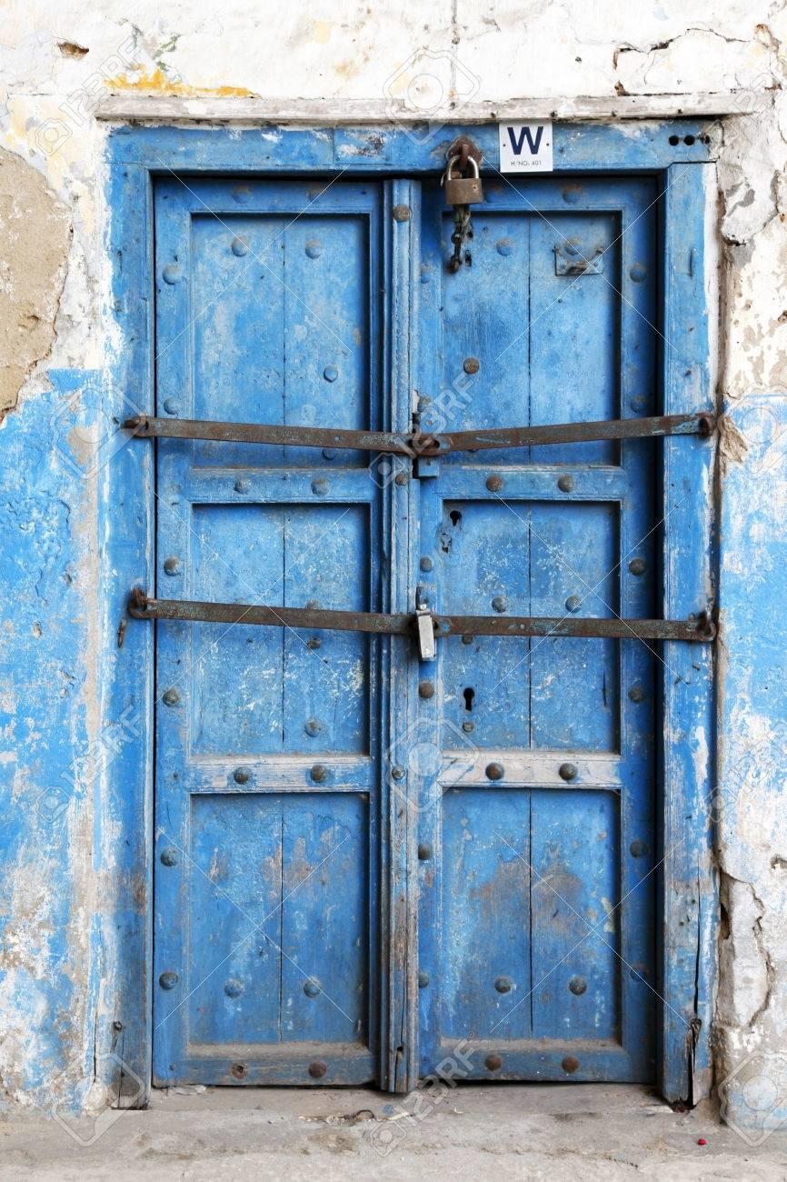 old wooden door at stone town the capital of zanzibar island stock