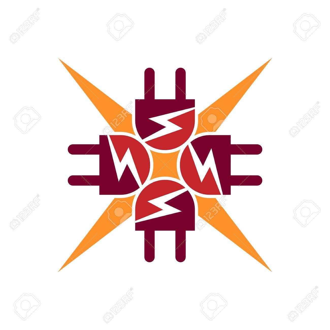 Elektrizität Kraft Icon Design Symbol Abstrakt Lizenzfrei Nutzbare ...