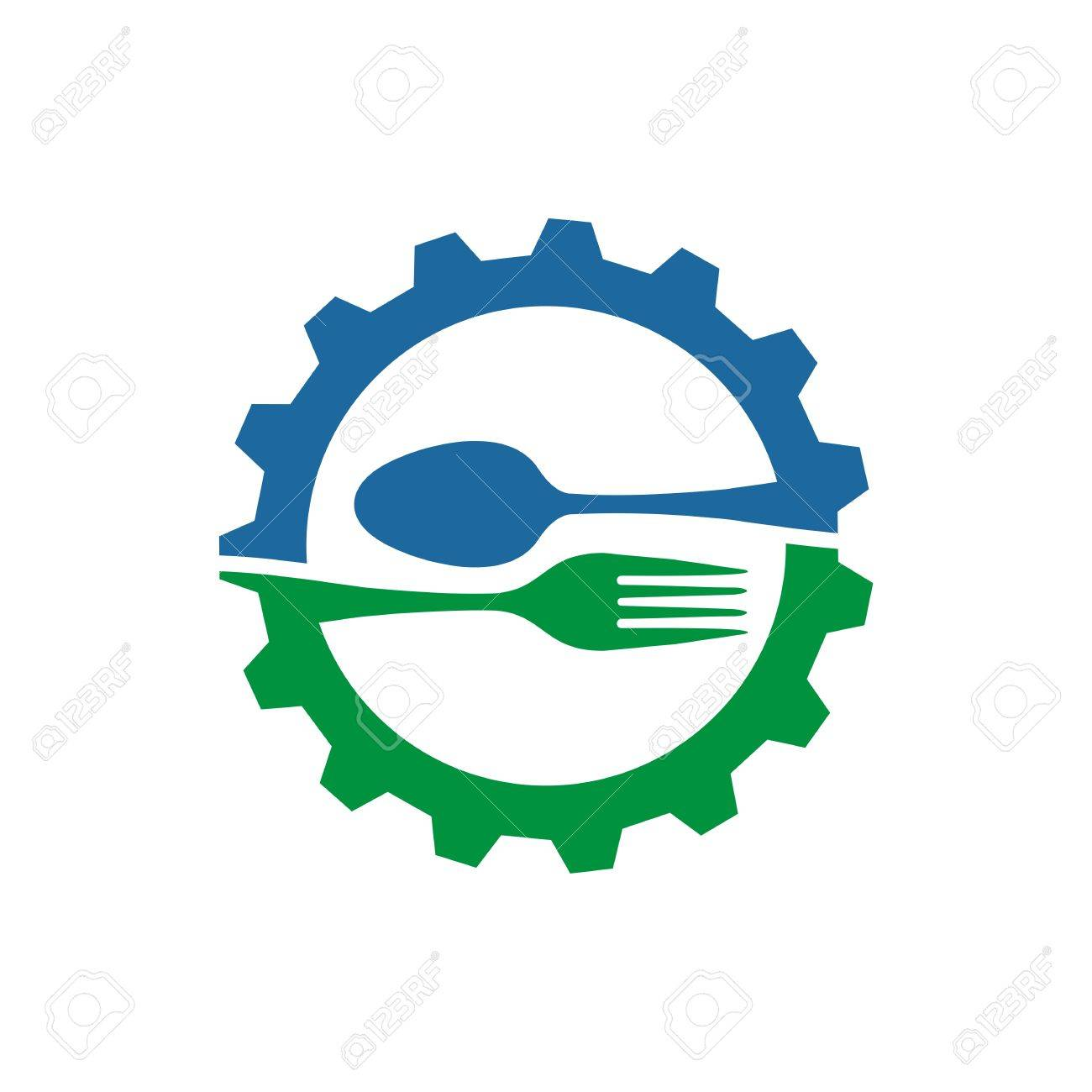 Gear With Spoon And Fork Logo Food Kitchen Vector Royalty Free ...