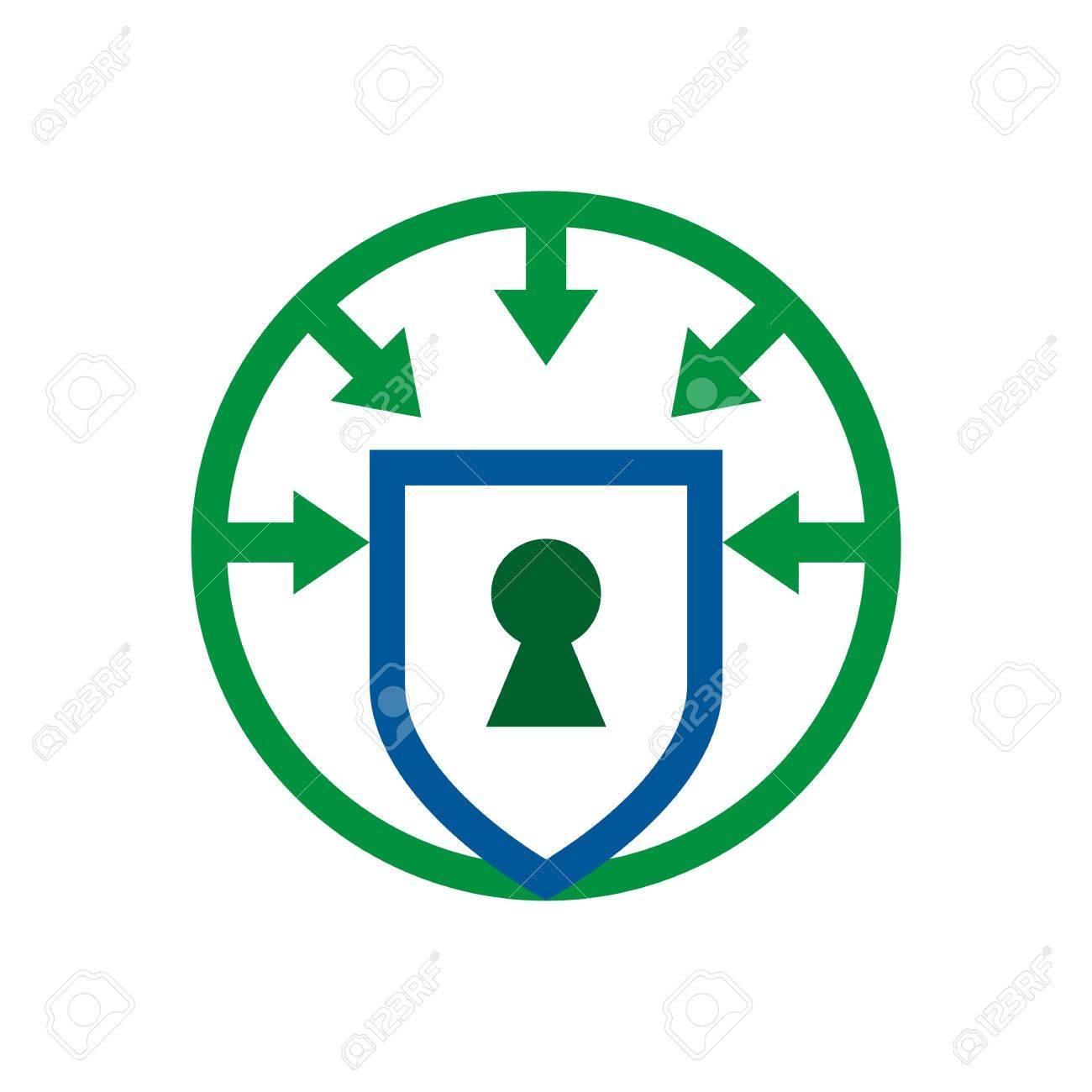 Security Shield Symbol Icon Circle Logo Protection Royalty Free