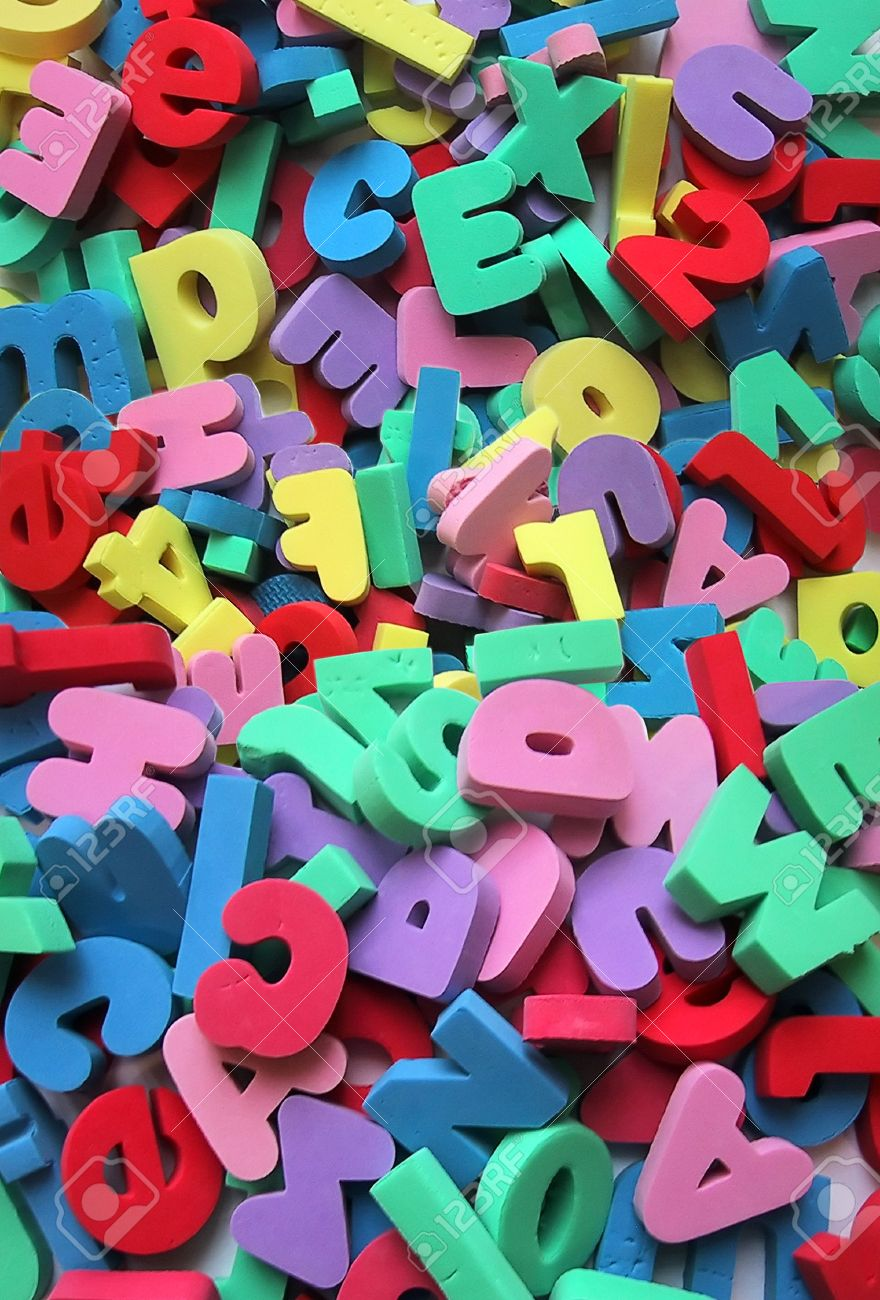stock photo foam letters and numbers background