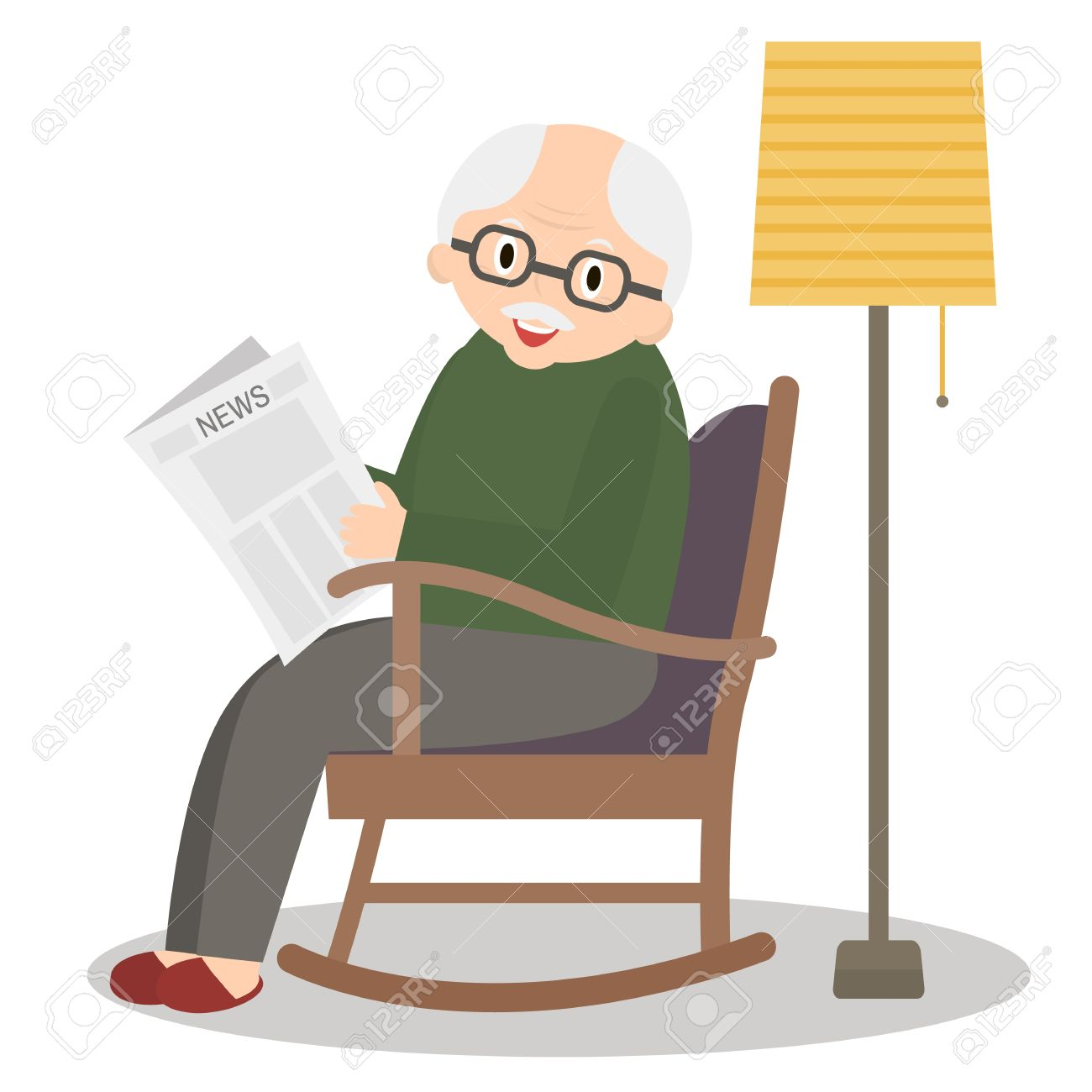 Grandfather Sitting In Rocking Chair Old Man Leisure Time Grandpa