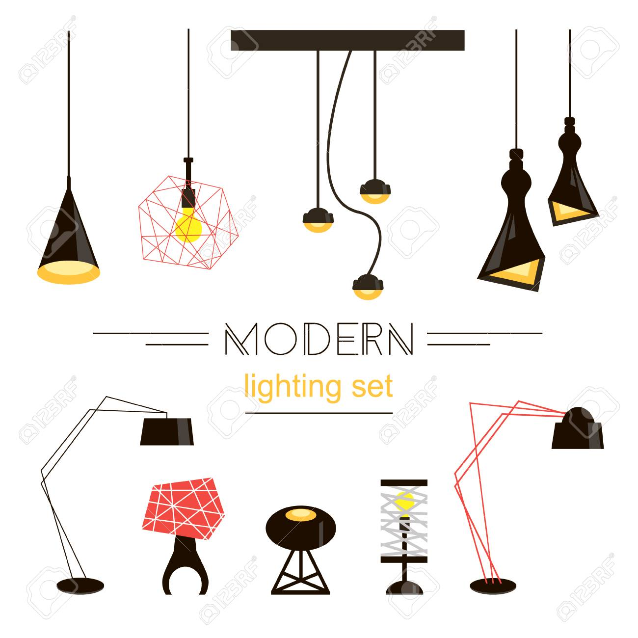 Moderne Licht Sammlung Isoliert Auf Weiß. Haus Möbel. Standard Bild    58171882