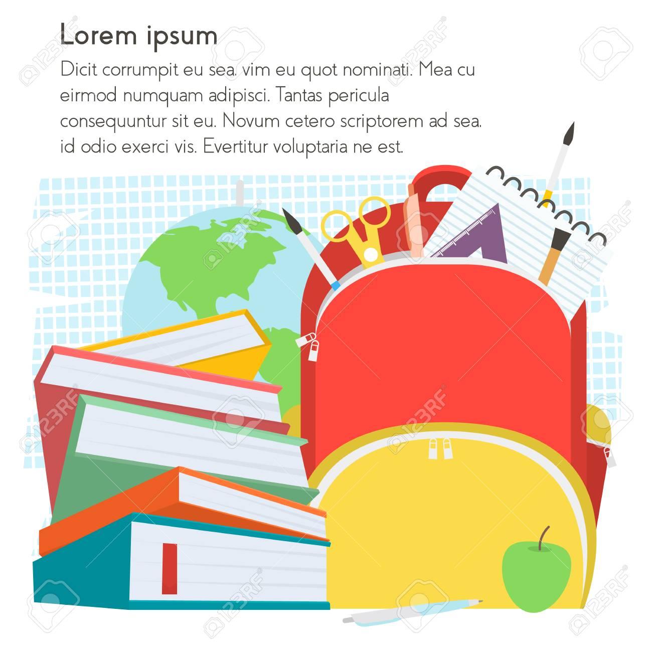 Schule Vorlage Mit Rucksack Und Bücher Mit Text Place.Illustration ...