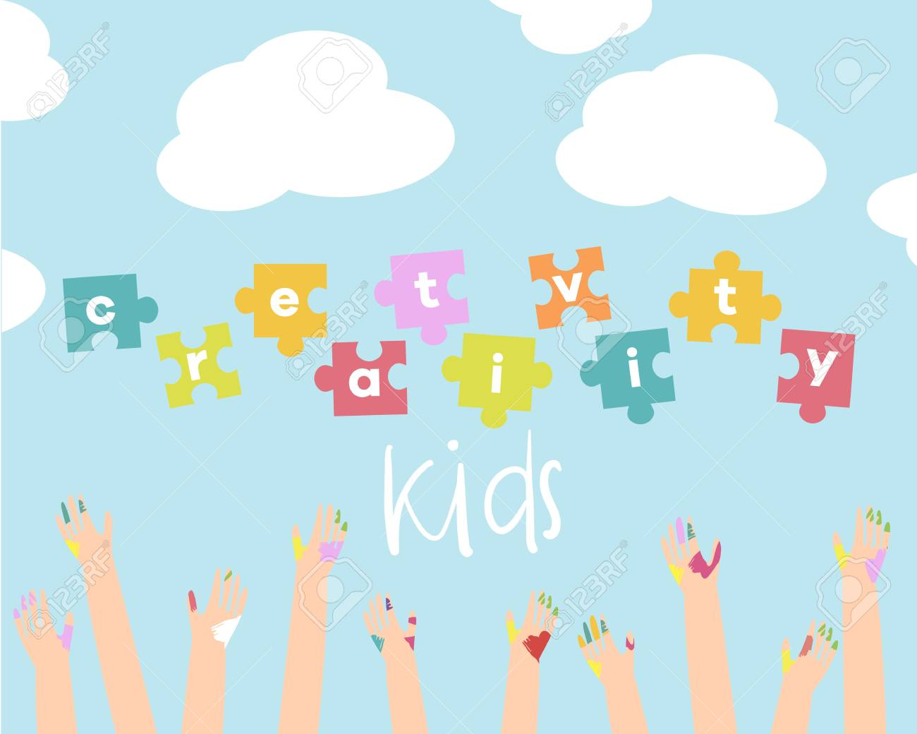 Kids Creativity Vector Illustration Background Banner Flyer For Art Lessons Or