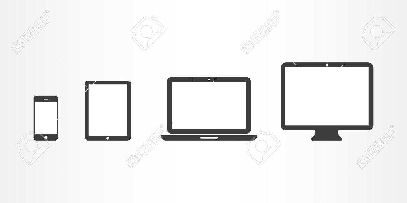 device icons smartphone tablet laptop and desktop computer royalty rh 123rf com clipart desktop pc clipart desktop wallpaper