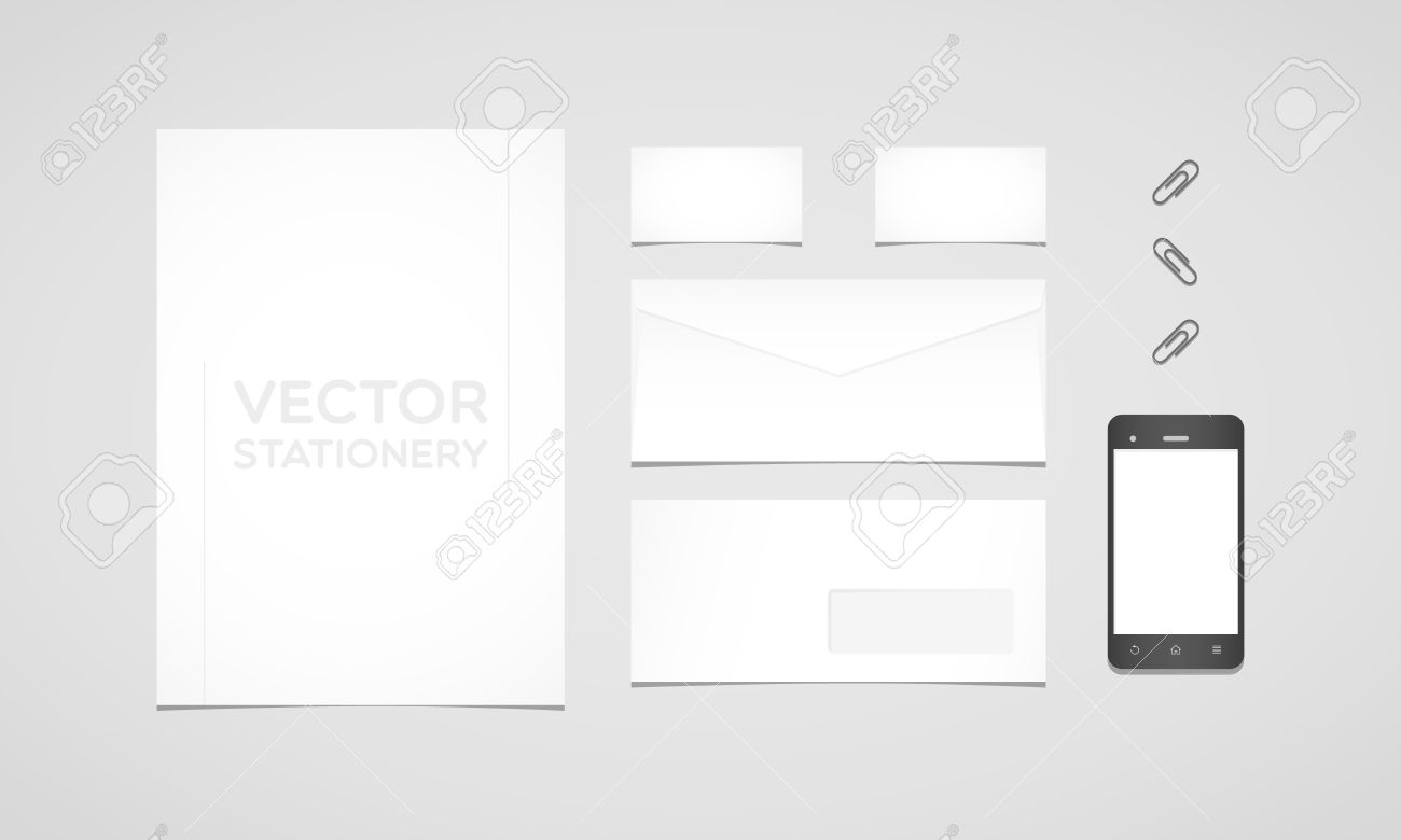 Branding identity template letterhead envelope business card letterhead envelope business card smartphone and paperclips flat reheart Images
