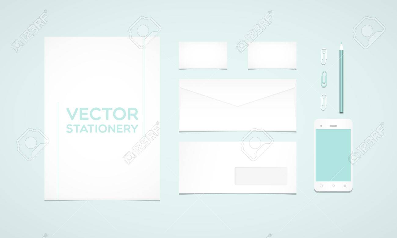 Branding identity template letterhead envelope business card branding identity template letterhead envelope business card smartphone pencil and paperclips cheaphphosting Image collections