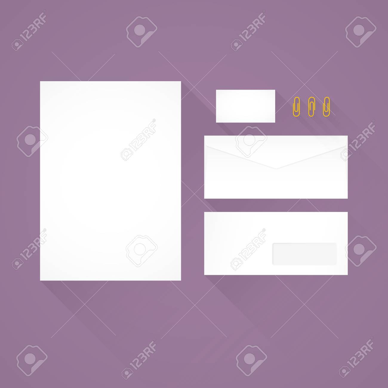 Branding identity template purple background letterhead envelope branding identity template purple background letterhead envelope business card and paperclips wajeb Images