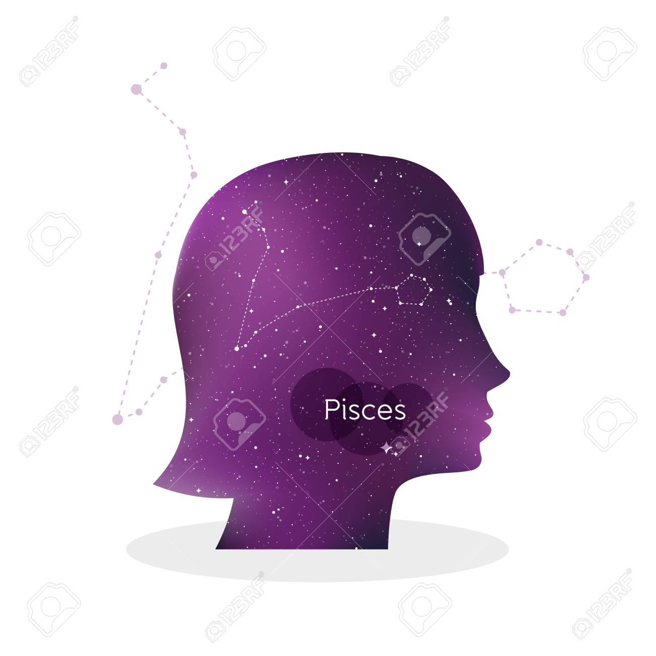 Pisces Zodiac Sign Woman Portrait In Profile Horoscope Symbol